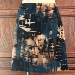 The Limited Black Blue Tan Abstract Print Skirt